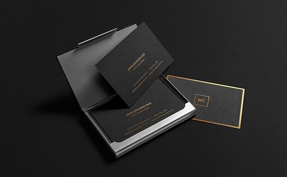 Black + Gold Stationary Mock-Up - Free PSD templates