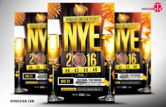 NYE 2016 Party Flyer PSD Template - free psd flyer templates 2015
