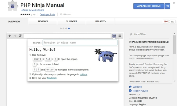 PHP Ninja Manual - Google Chrome extensions