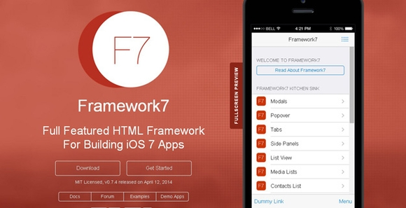 Framework 7 - html5 tools for web development