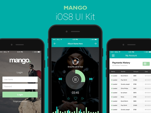 Mango – A Gorgeous Vector iOS8 UI Kit