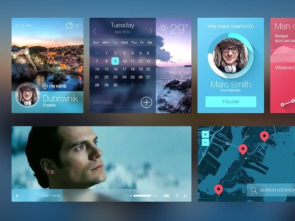 iOS7 inspired UI kit - interface design