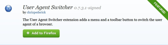 User Agent Switcher - mozilla firefox extensions
