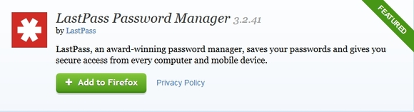 LastPass Password Manager - mozilla firefox extensions
