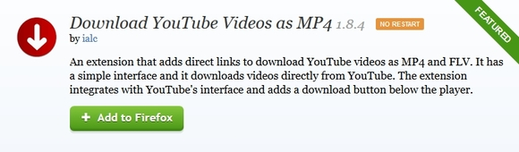Download YouTube Videos as MP4 - mozilla firefox add-ons