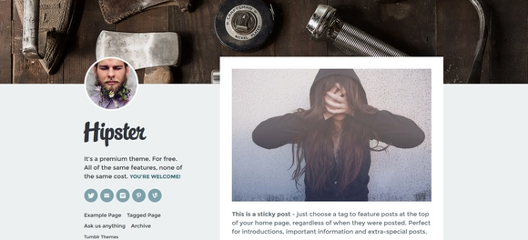 Hipster - free tumblr themes